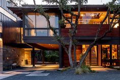 Contemporary remodel and addition to treetop home in Austin