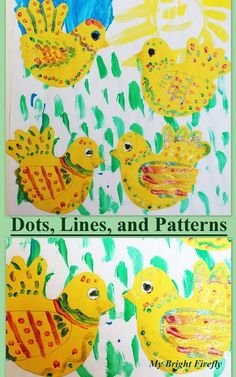 Decorating Chicks with Lines, Dots, and Patterns. Chicken life cycle. Negative spaces.