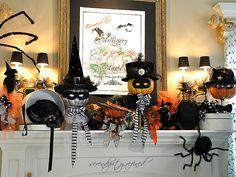 Twenty Halloween Mantel {and more} Decorating Ideas! - #Halloween #mantel #decorating #ideas!