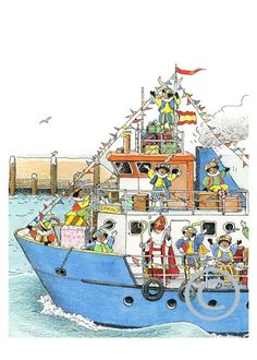 Monica Maas illustratrice en ontwerpster - Bobbi en Joupy.De boot van Sinterklaas en zijn Pieterbaas..................                lb xxx.