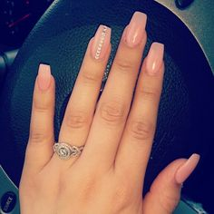 Nude coffin nails with just the right amount of bling!