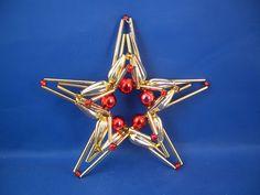 Gablonz Beaded Star Red Christmas Blown Glass Ornament Czech Republic 030004   eBay