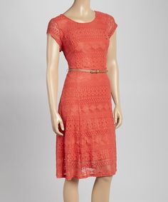 Sharagano Coral Lace Belted Cap-Sleeve Dress #zulily #ad *pretty
