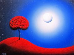 Surreal Art Print of Oil Painting Blue Nightscape by BingArt