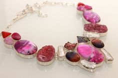 WEDDING BRIDAL GIFT PINK JASPER-TITANIUM DRUZY 925 STERLING SILVER NECKLACE S294 #925silverpalace #Charm