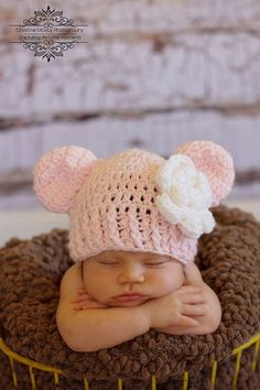 Newborn Pink Infant Baby Girl Hat Ears and by GoldenGirlzHandmade, $17.50