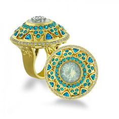 paula-crevoshay-17-ring-18-kt-yellow-gold-opal-apatite-diamond $31,495.00   This beautiful ring is crafted in 18 kt yellow gold and is graced with opal, apatite and diamond.
