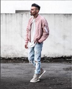 47 Ways to Look Stylish with Bomber Jacket for Men Mens Clothing Lines, Mens Clothing Brands, Men's Clothing, Brown Leather Bomber Jacket, Pink Bomber Jacket, Pink Jacket, Swag Style, Blouson Rose, Streetwear Men