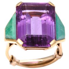 1stdibs.com | Stunning Retro Amethyst Ring with Malachite Baguettes