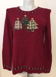 Christopher & Banks Women's Christmas Sweater Christams Trees Plaid Size XL   | eBay