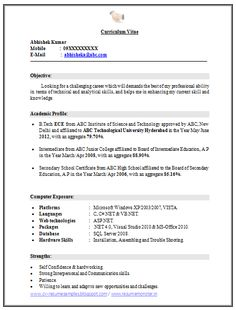 example template of excellent fresher b tech resume sample format
