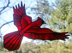 Cardinal Stained Glass Bird Large Suncatcher by BerlinGlass