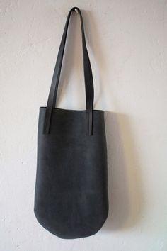 little leather bag charcoal black by chrisvanveghel on Etsy, €125.00