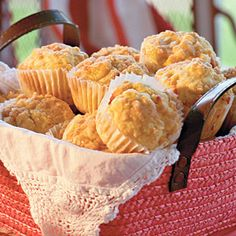 Peach Streusel Muffins    With their cake-like texture and streusel topping, these peach-filled muffins can easily serve as dessert. They also go great with quiche for brunch or with a glass of milk for a snack.