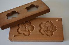 Kashigata sweets mold, hand carved, antique Japanese kashigata, 'sakura' cherry blossom design by StyledinJapan on Etsy