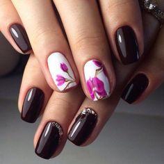 Beautiful autumn nails, Beautiful dark nails, Dark autumn nails, Dark nails, Dark short nails, Fall nails 2016, Fall nails ideas, Orchid nails