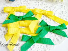 20 pcs mix grosgrain ribbon green and yellow by XadeBorealSupplies, $2.00