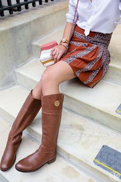 Tory Burch Junction Riding Boot — brings a gamine tomboy charm to a flippy mini and colorful bag