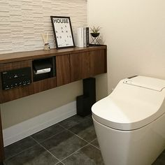 Bathroom/トイレ/エコカラット/モダン/ウォールナット/ダミーブック...などのインテリア実例 - 2018-01-28 03:57:35 | RoomClip (ルームクリップ) Small Toilet, Toilet Design, Jpg, Contemporary Architecture, Ideal Home, House Design, Bathroom, Storage, Interior