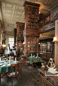 The library in Cafe Pushkin, Moscow - It's a library with a restaurant in an old mansion. More