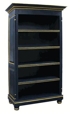 I love this navy blue bookcase with gold trim.
