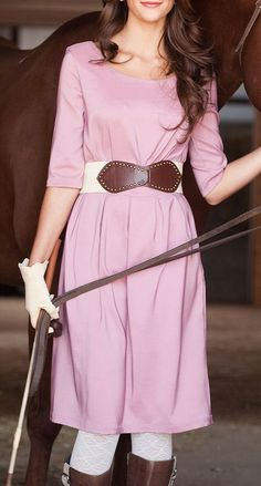 Pink Dressage Scoop Neck Dress