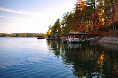 Fall Colors at The Reserve at Lake Keowee, SC I Kroeger Marine Construction My Escape, Lake View, Beautiful Islands, Simply Beautiful, Us Travel, The Great Outdoors, South Carolina, My Dream, Beach