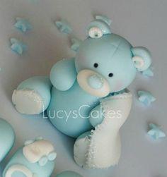 blue and white teddy cake topper birthday Baby Cake Topper, Cake Toppers, Polymer Clay Recipe, Teddy Bear Baby Shower, Fondant Animals, Minnie Mouse Cake, Fondant Decorations, Clay Baby, Fondant Flowers