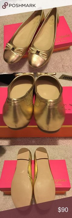 Kate Spade gold flats size 8.5 New!! Kate Spade nappa gold flats brand new size 8.5 these are in new condition I have a box that it can ship with but it is the wrong size on the outside. kate spade Shoes Flats & Loafers