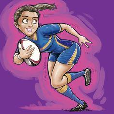 Rugby femenino mujer dibujo Checho Perrone