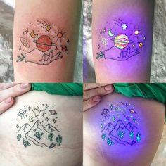 UV Tattoo Artist Tukoi Oya. Tukoi Oya is a UV tattoo artist from Melbourne, Australia. For Read more and  UV Tattoos View Website  #art #arts #tattoo #tattoos #uvtattoo #uvtattooideas #tattoodesign #tattooideas #tattoofrauen #tattoosforwoman #tattoodesigns #tattoomodelsfemale #tattoomodels #tattoomodel #dövme #dövmemodelleri #dövmetasarımları #tukoi #tukoioya #artwoonz #spacetattoo #spacetattoos Uv Tattoo, Uv Ink Tattoos, Glow Tattoo, Real Tattoo, Dark Tattoo, Baby Tattoos, Time Tattoos, Body Art Tattoos, Tattoos For Guys