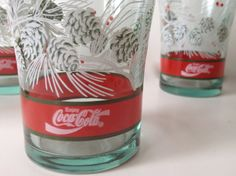 Four Vintage Coca Cola Christmas Glasses by DetroitRockabetty, $22.99