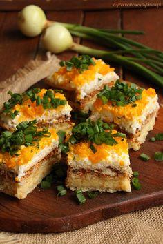 Sałatka na krakersach Spanakopita, Mozzarella, Tapas, Cooking, Ethnic Recipes, Food, Kitchens, Cuisine, Kochen