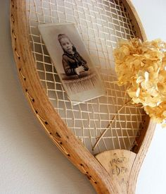 Tennis Racquet Wall Hanging Upcycled Antique Shabby Chic for Display Farmhouse Decor. , via Etsy.
