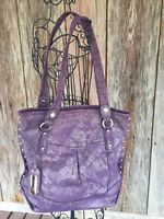 B. Makowsky LACE Purple LARGE Leather Suede Handbag Tote Bag -QVC
