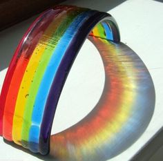Fused glass rainbow in sunlight