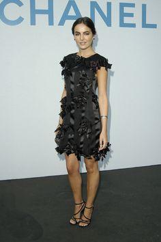 Camilla Belle in Chanel black lbd little black dress bows short