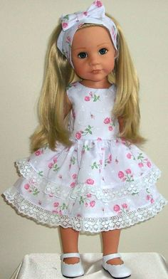 "Rose shower dress & alice band fits 18-20"" Dolls Designafriend/Gotz hannah"