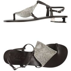 Lola Cruz Thong Sandal ($188) ❤ liked on Polyvore featuring shoes, sandals, dark brown, buckle shoes, ankle strap shoes, leather sole shoes, ankle tie sandals and ankle wrap sandals
