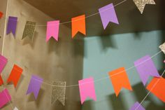 Dora Party Paper Garland  Pink Purple Orange and by SimplyScissors, $10.00