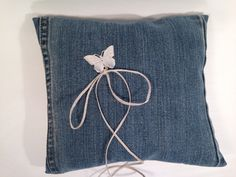 Your place to buy and sell all things handmade Blue Jean Wedding, Blue Pillows, Throw Pillows, Blue Denim, Blue Jeans, Jeans Wedding, Ring Bearer Pillows, Ring Pillow Wedding, Silver Color