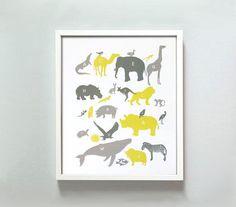 Art/Wall Decor - 11x14 Alphabet Animals Print in Grays and Yellow by GusAndLula - alphabets, animal, print, yellow, gray