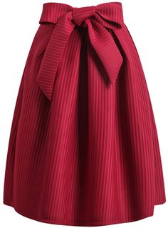 Wine Red Bow Vertical Stripe Skirt