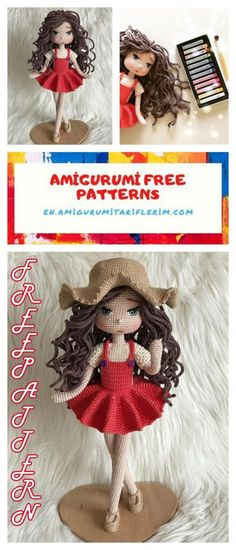 Amigurumi Rima Doll Free Pattern - En.amigurumitariflerim.com Doll Amigurumi Free Pattern, Crochet Amigurumi Free Patterns, Crochet Doll Pattern, Amigurumi Doll, Crocheting Patterns, Crochet Vs Knit, Crochet Girls, Crochet Toys, Crotchet