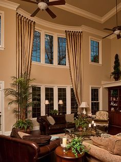 Most Popular Interior Design Styles Defined in 2018 High Ceiling Living Room, Living Room Drapes, Living Room Windows, Formal Living Rooms, My Living Room, Tall Window Treatments, Window Treatments Living Room, Window Coverings, Tall Window Curtains