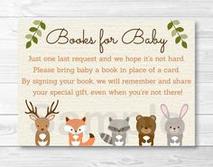 Woodland Forest Animal Baby Shower Book Request Cards INSTANT DOWNLOAD:                                                                                                                                                      More