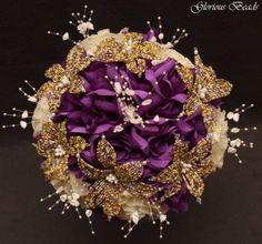 Lily-Bridal-Bouquet-Wedding-BEADED-FLOWERS-Purple-Yellow-Ivory