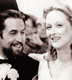"Meryl and Robert De Niro on the set of "" The Deer Hunter "" (1978)"