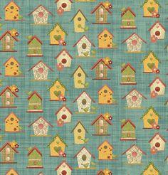 Garden Days by Cheryl Haynes for Benartex -  Bird Houses - Teal
