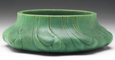 """Teco flower bowl, designed by Fritz Albert, #334, low organic shape with incised designs, covered in a good green matte glaze, impressed marks, 8.5""""w x 3""""h"""